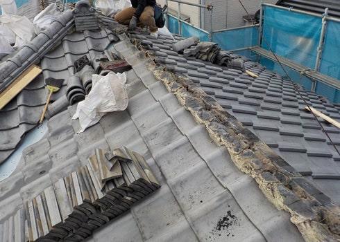 既存屋根材の撤去